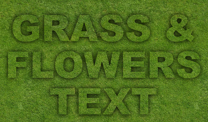 Grass & Flowers Text - Clipping Mask