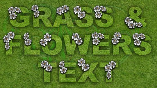 Grass & Flowers Text Photoshop Tutorial