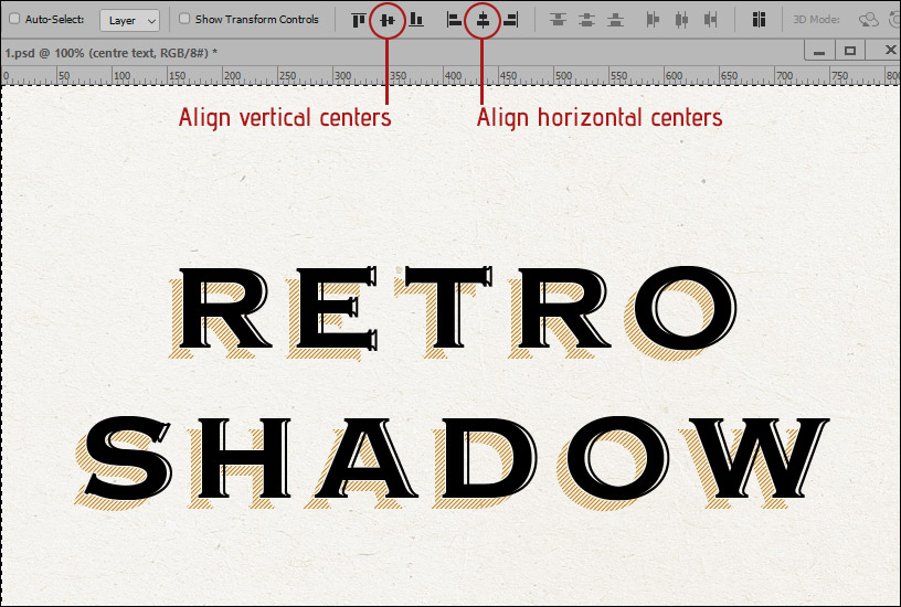 Retro Shadow Text Effect - Centering
