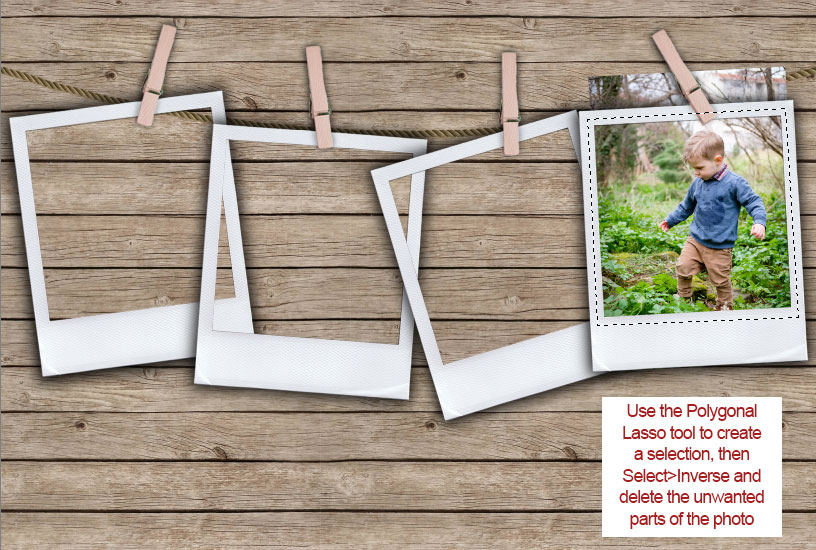 Pegged Photos Template - Trim Photo