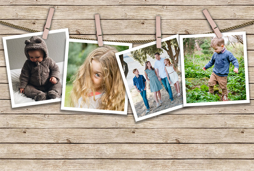 Pegged Photos Template - Photos With Stroke